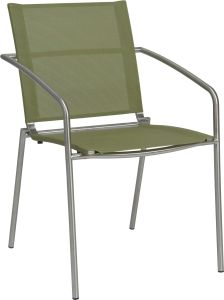 Stacking armchair Mara stainless steel with cover textilen apple