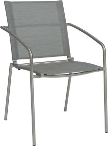 Stacking armchair Mara stainless steel with cover textilen silver