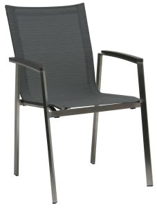Stacking armchair New Top stainless steel with cover textilen carbon & aluminum armrests anthracite