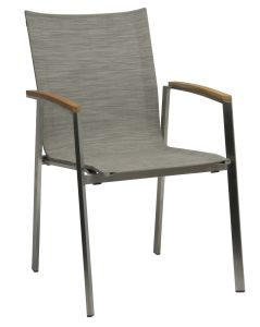 Stacking armchair New Top stainless steel with cover textilen cashmere & teak armrests FSC®-certified