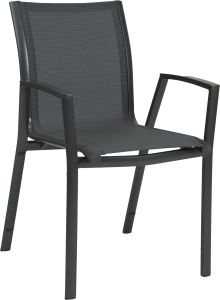 Stacking armchair Ron aluminum anthracite with cover textilen carbon & aluminum armrests anthracite