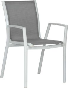 Stacking armchair Ron aluminum white with cover textilen silver & aluminum armrests white