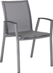 Stacking armchair Ron aluminum graphite with cover textilen silver grey & aluminum armrests anthracite