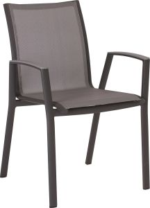 Stacking armchair Ron aluminum anthracite with cover textilen silver & aluminum armrests graphite