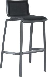Bar chair Allround aluminum graphite with textilen silver grey