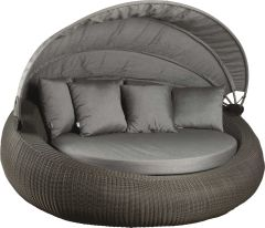 Daybed Big Anny wicker basalt grey with cushion, back cushion and roof outdoor fabric silk grey