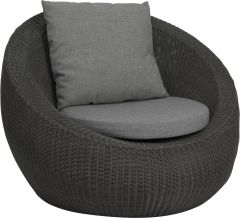 Lounge armchair Anny wicker basalt grey with cushion Dessin silk grey
