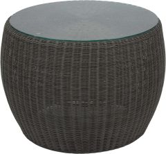 Side table Anny wicker basalt grey with glass top