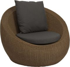 Lounge armchair Anny wicker cinnamon with cushion fawn brown