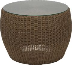 Side table Anny wicker cinnamon with glass top