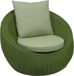 Lounge armchair Anny wicker green with cushion Dessin fern green