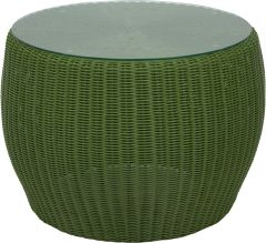 Side table Anny wicker green with glass top
