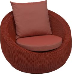 Lounge armchair Anny wicker red with cushion cherry