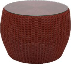 Side table Anny wicker red with glass top