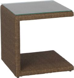 Side table Butler with wicker cinnamon and glass top