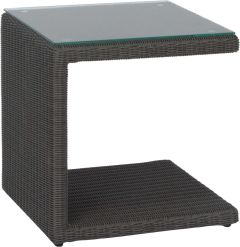 Side table Butler with wicker basalt grey and glass top