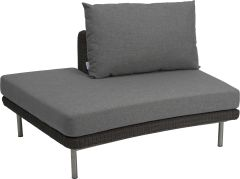 Side element Viva right open with wicker basalt grey und cushion Dessin grey mixed