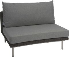 Middle element Viva with wicker basalt grey und cushion Dessin grey mixed