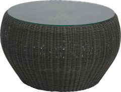 Side table/Stool Anny wicker basalt grey with glass top und cushion silk grey