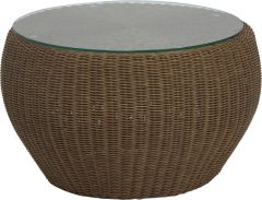 Side table/Stool Anny wicker cinnamon with glass top und cushion fawn  brown