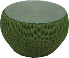 Side table/Stool Anny wicker green with glass top und cushion fern green