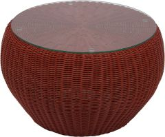 Side table/Stool Anny wicker red with glass top und cushion cherry