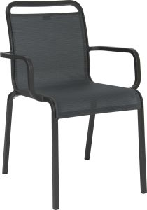 Stacking armchair Oskar aluminum anthracite with cover textilen carbon
