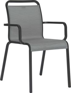 Stacking armchair Oskar aluminum anthracite with cover textilen silver
