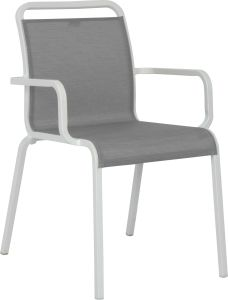 Stacking armchair Oskar aluminum white with cover textilen silver