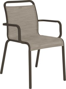 Stacking armchair Oskar aluminum taupe with cover textilen cashmere