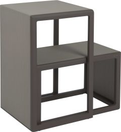 Side table set Brothers 2 parts aluminum taupe with cover textilen pebble grey