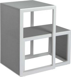 Side table set Brothers 2 parts aluminum white with cover textilen silver