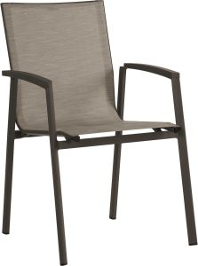 Stacking armchair New Top aluminum taupe with cover textilen cashmere & aluminum armrests taupe