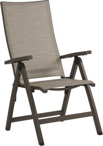 Folding armchair New Top aluminum taupe with cover textilen cashmere & aluminum armrests taupe