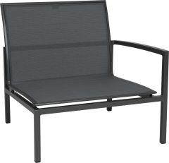 Loungeside element Skelby aluminum anthracite with cover textilen carbon und armrest left