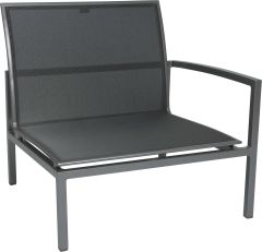 Loungeside element Skelby aluminum graphite with cover textilen silver grey und armrest left