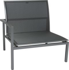 Loungeside element Skelby aluminum graphite with cover textilen silver grey und armrest right