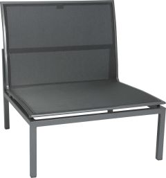 Lounge middle element Skelby aluminum graphite with cover textilen silver grey