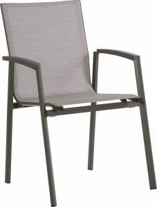 Stacking armchair New Top aluminum anthracite with cover textilen silver & aluminum armrests anthracite