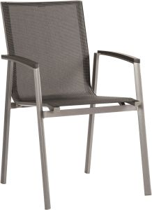 Stacking armchair New Top aluminum graphite with cover textilen silver grey & aluminum armrests anthracite