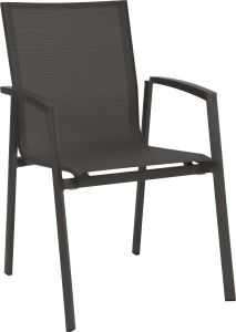 Stacking armchair New Top aluminum anthracite with cover textilen carbon & aluminum armrests anthracite