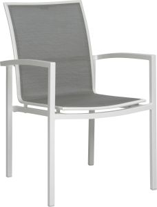 Stacking armchair Skelby aluminum white with cover textilen silver