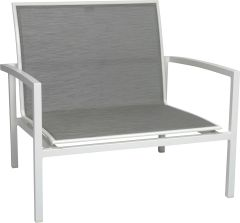 Lounge armchair Skelby aluminum white with cover textilen silver