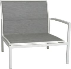 Loungeside element Skelby aluminum white with cover textilen silver und armrest left