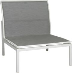 Lounge middle element Skelby aluminum white with cover textilen silver