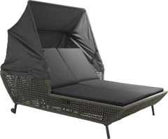 Daybed Greta aluminum anthracite with rope platinum & cushion Dessin silk grey