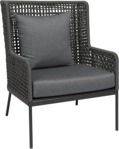 Lounge armchair Greta aluminum anthracite with rope platinum & cushion silk grey