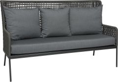 Lounge sofa Greta aluminum anthracite with rope platinum & cushion Dessin silk grey