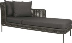 Sunlounger Greta aluminum anthracite with rope platinum & cushion Dessin silk grey