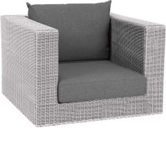 Corpus armchair Fontana wicker Vintage white with cushion Dessin silk grey